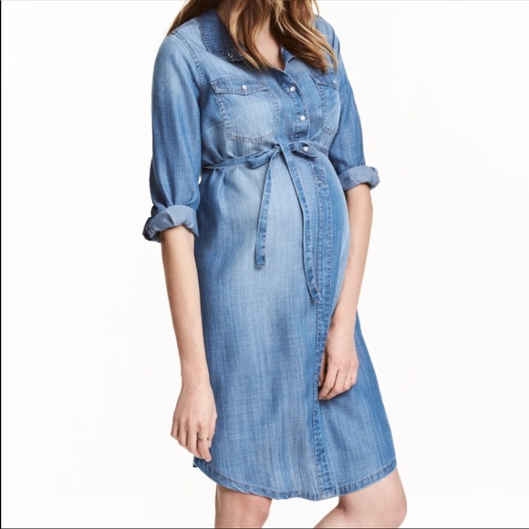 6e1ee088fdd96 H&M Dresses | Hm Maternity Mama Denim Dress S Small | Poshmark